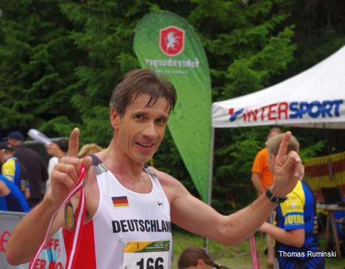 Thomas Ruminski nach dem Zieleinlauf auf dem Muttersberg