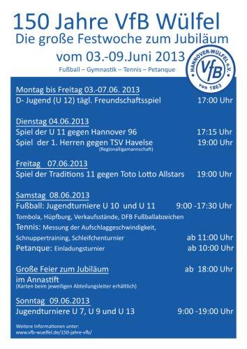 VfB Wülfel: Programm der Festwoche anlässlich des 150jährigen Bestehens