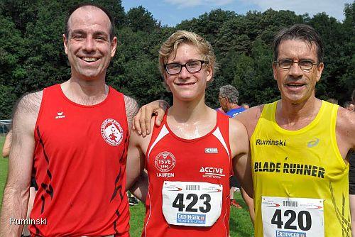 Die Sieger (von links): Markus Thonemann (LG Wartburg), Tim Kerkmann (TSVE Bielefeld) und Thomas Ruminski (SVE Hiddestorf)